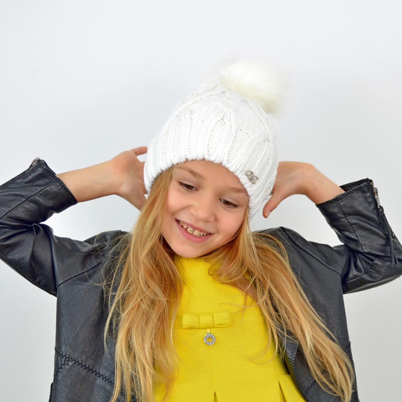 Детская вязаная шапка 3360 Белый