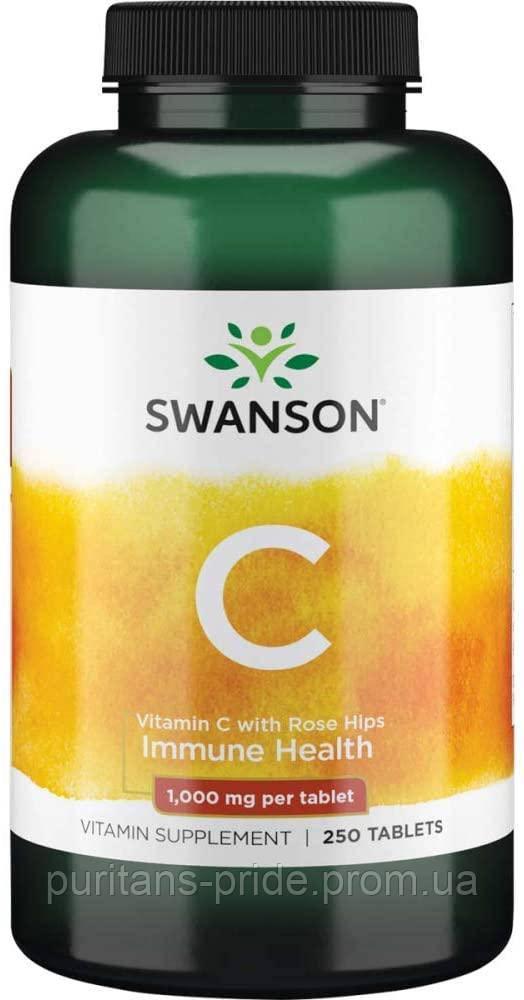 Аскорбінова кислота, Swanson Vitamin C with Rose Hips 1,000 250 mg Tablets