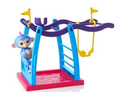 Игровой набор Детская площадка и интерактивная ручная обезьянка синяя Лив