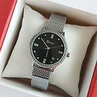 Женские наручные часы серебристого цвета на браслете Dior (Диор), черный циферблат, дата - код 1743, фото 1