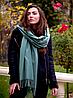 Теплый кашемировый шарф палантин Салли 185*70 см оливковый