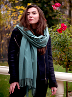 Теплый кашемировый шарф палантин Салли 185*70 см оливковый, фото 1