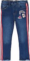 Детские джинсы джеггинсы для девочки синие с лампасами