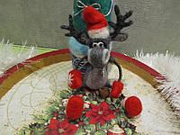 Хенд мейд ! Игрушка ручной работы игрушка Лось Семен Игрушка из валяной шерсти подарок сувенир ARTDEKOR