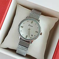 Женские наручные часы серебристого цвета на браслете, белый циферблат, дата - код 1744, фото 1