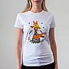 Женская белая футболка с жирафом