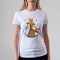 Женская белая футболка с жирафом, фото 1
