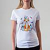 Женская белая футболка с лисой