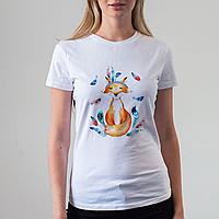 Женская белая футболка с лисой, фото 1
