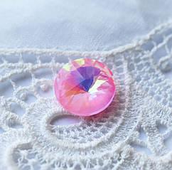Стразы стеклянные Риволи 10мм, нежно-розовый