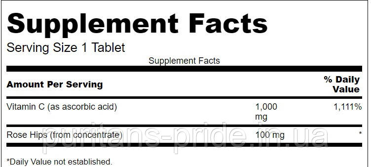 Аскорбінова кислота, Swanson Vitamin C with Rose Hips 1,000 250 mg Tablets, фото 2