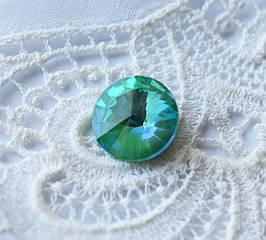Стразы стеклянные Риволи 10мм, зеленый