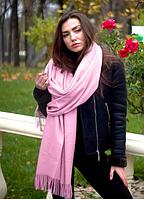 Теплый кашемировый шарф палантин Салли 185*70 см пудрово-розовый