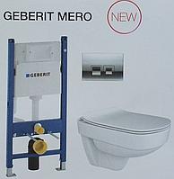 Інсталяційний модуль Geberit в комплекті з безобідковим унітазом Mero з кришкою, 1685-030-1712.115G