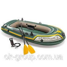 Лодка надувная двухместная + 2 весла + насос Intex 68347 Seahawk 2 Set