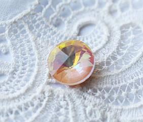 Стразы стеклянные Риволи 10мм, персиковый