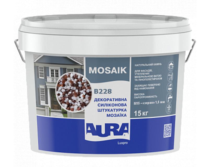 Штукатурка кварцевая AURA LUX PRO MOZAIK M15 мозаичная (зерно 1,5 мм) B228 15кг