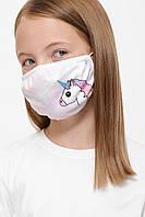 Защитная тканевая многоразовая детская маска с принтом, фото 1