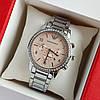 Женские наручные часы серебристого цвета на браслете Emporio Armani, розовый циферблат, дата - код 1747