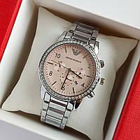 Женские наручные часы серебристого цвета на браслете Emporio Armani, розовый циферблат, дата - код 1747, фото 1