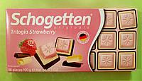 Шоколад Schogetten клубничная трилогия молочный и белый 100 г, фото 1