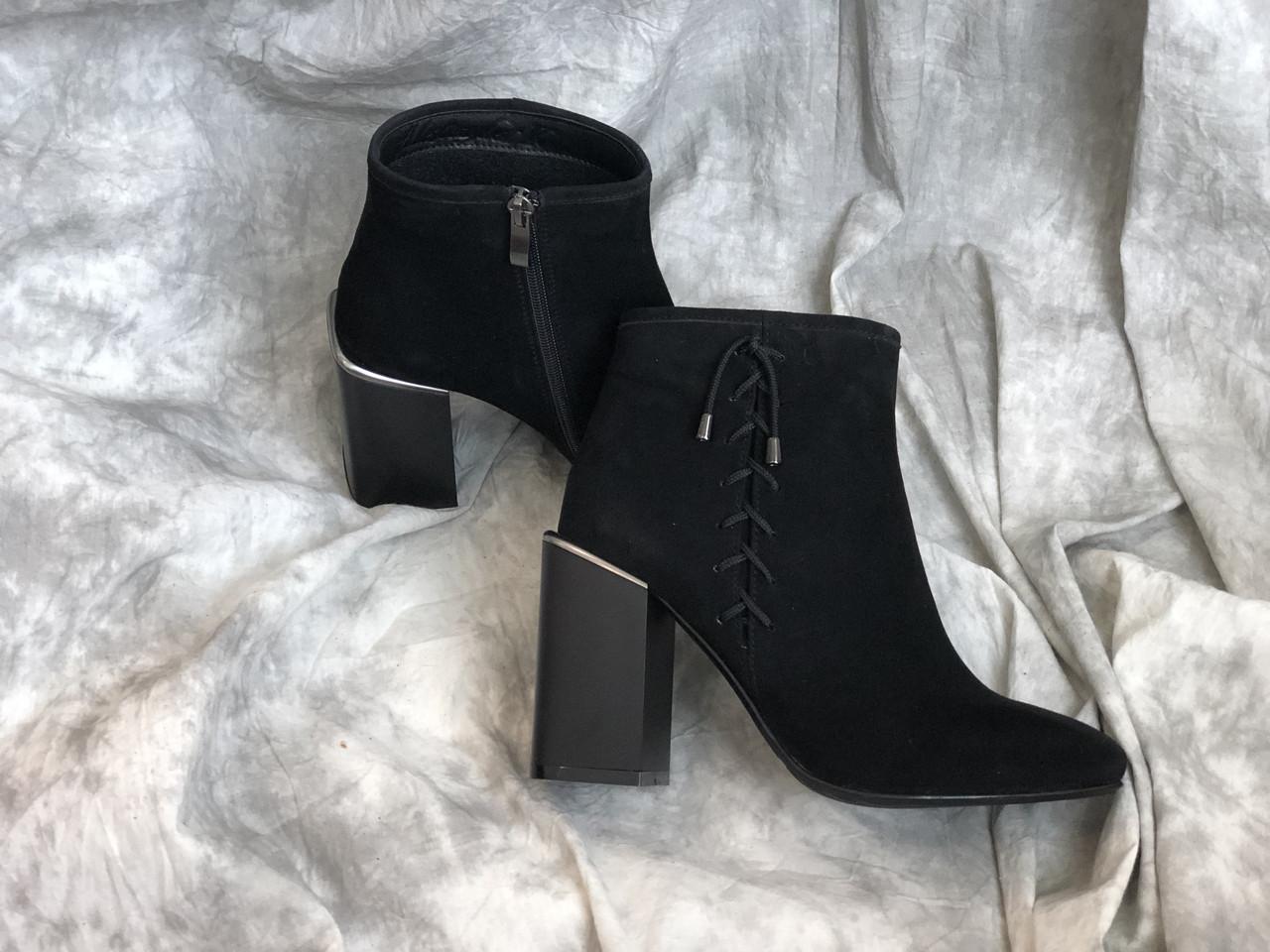 Демисезонные женские кожаные сапоги на каблуке Alexandr 1058 ч/з размеры 35,36,37,38,39,40