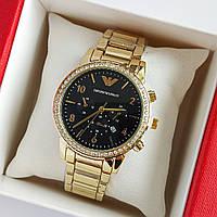 Женские наручные часы золотого цвета на браслете Emporio Armani, черный циферблат, дата - код 1749, фото 1