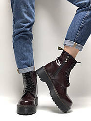 Женские ботинки Dr.Martens JADON демисезонные (вишнёвый)