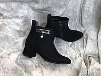 Кожаные женские демисезонные ботинки на маленьком каблуке 1023 ч/з размеры 36,37,38,39,40,41, фото 1