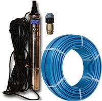Тонкий Погружной глубинный насос Forwater QJD 1.2-50-0.37-75 для скважин + труба + клапан + кабель