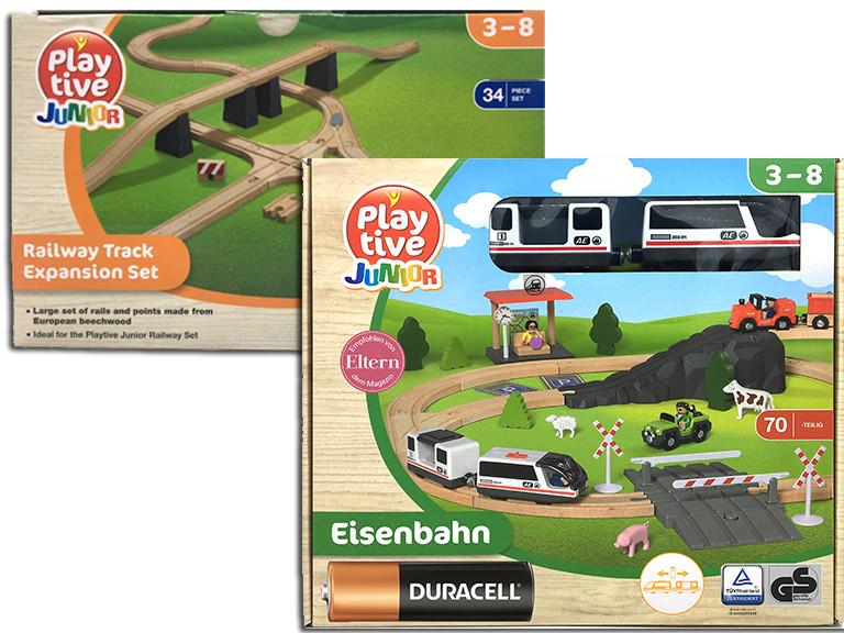 Игрушечная железная дорога деревянная PlayTive Junior 114 елементов