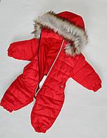 Детский зимний комбинезон на девочку до 2 лет, цельный, человечек, красный, фото 1