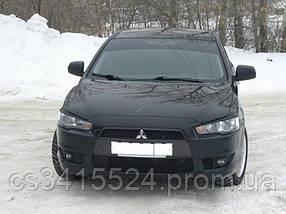 Реснички на фары Mitsubishi Lancer X 2007  Spirit (на скотче 3М)