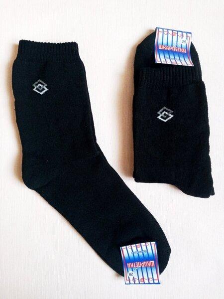Носки мужские теплые махровые, х/б+стрейч,р 29 черные. Опт 11.5 грн