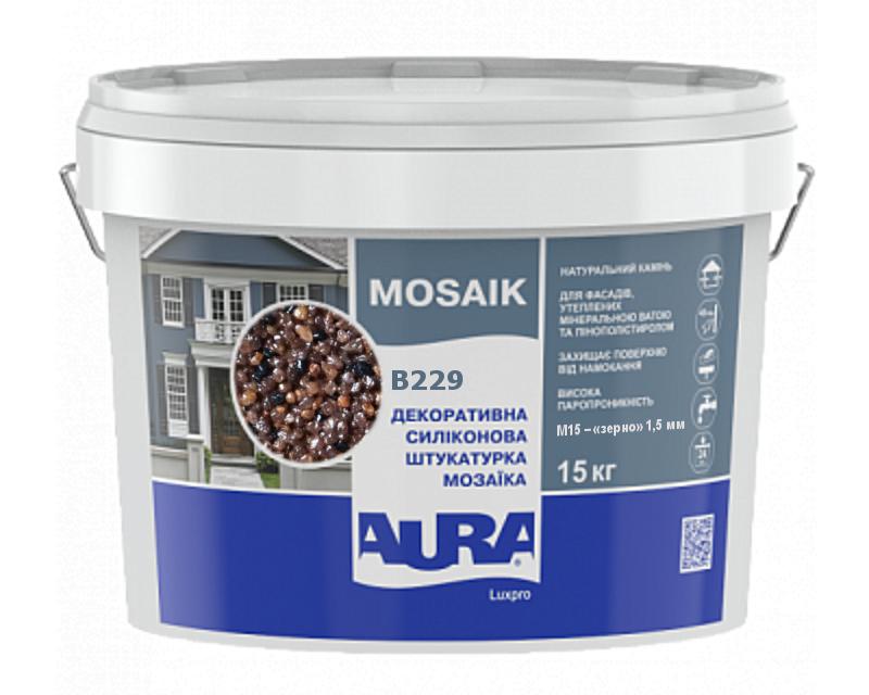 Штукатурка кварцевая AURA LUX PRO MOZAIK M15 мозаичная (зерно 1,5 мм) B229 15кг