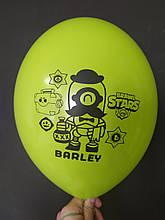"Латексный шар с рисунком Вrаwl stаrs Barley салатовый 008 12 ""30см Belbal ТМ"" Star """