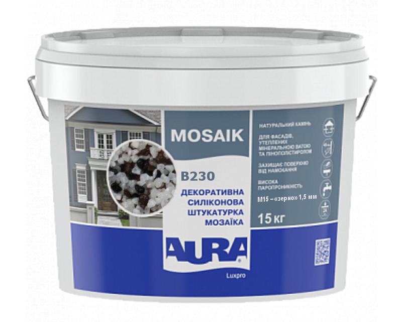 Штукатурка кварцевая AURA LUX PRO MOZAIK M15 мозаичная (зерно 1,5 мм) B230 15кг