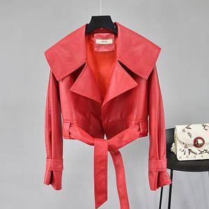 Стильная укороченная женская куртка оверсайз из экокожи с поясом 42-46 р