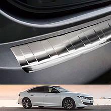 Захисна накладка на задній бампер для Peugeot 508 II FASTBACK 2018+ /нерж.сталь/