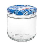 Банка стеклянная для консервации 200 мл. с синей металлической крышкой закрутка типа твист-офф   Everglass