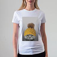 Женская белая футболка с котом, фото 1