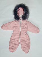 Детский зимний комбинезон на девочку до 2 лет, цельный, человечек, пудра, фото 1