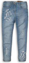 Детские и подростковые джинсы для девочки-подростка голубые Minoti 152-158 cм, 12-13 лет