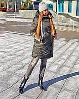 Зимняя теплая куртка Демина цвет хаки размеры 50-56