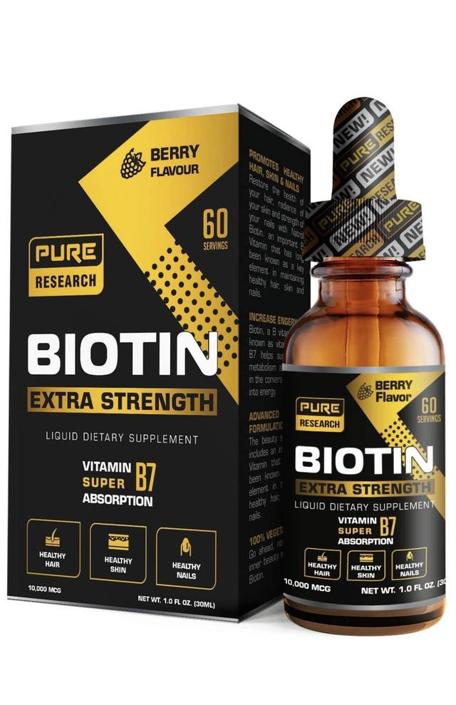 Жидкие капли биотина Extra Strength 10000 мкг, 60 порций, подходят для веганов, поддерживают здоровый рост волос, крепкие ногти и сияющую кожу, впитываются в 3 раза лучше, чем капсулы или пилюли