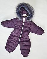 Детский зимний комбинезон на девочку от 0.5 до 2 лет, цельный, человечек, марсала, фото 1