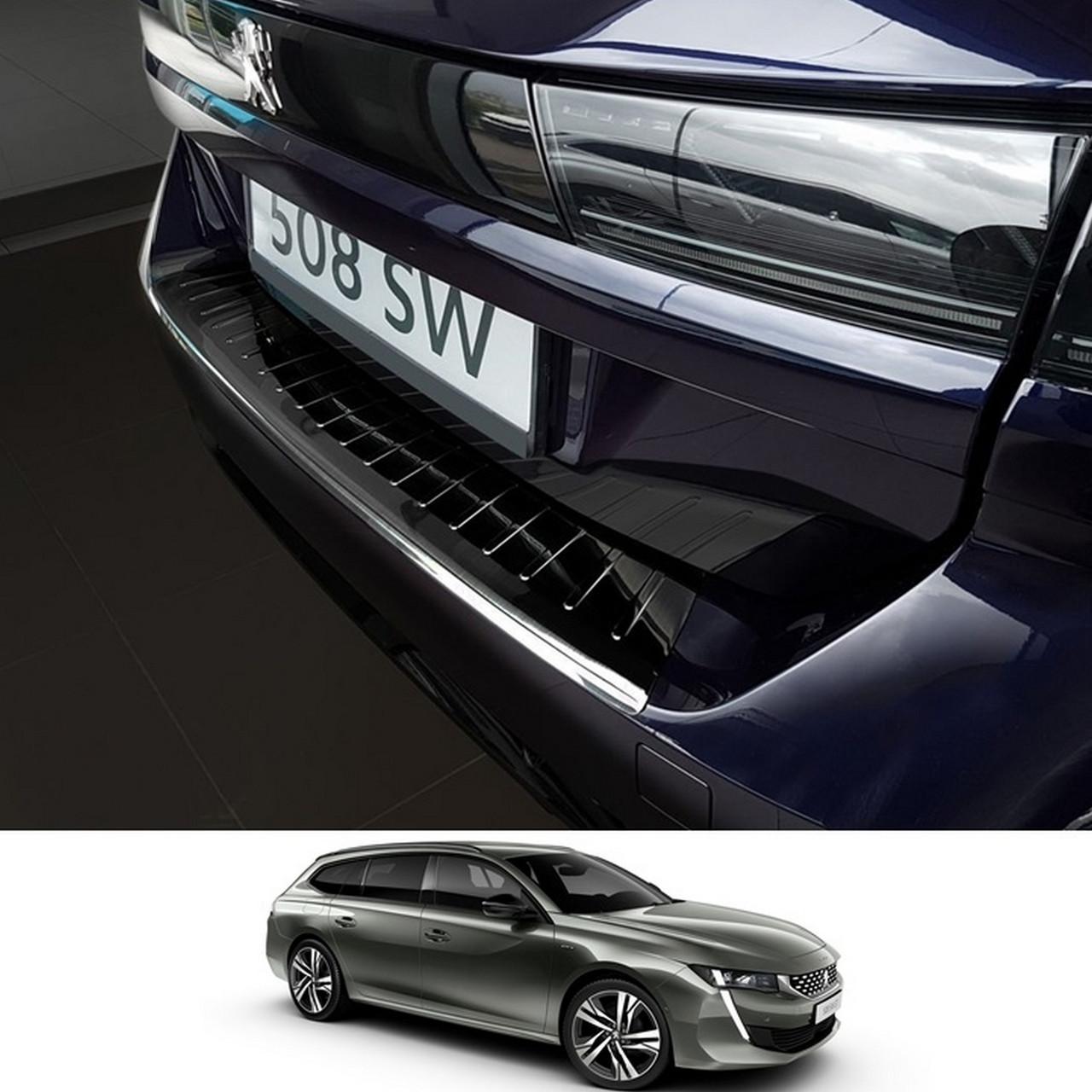 Захисна накладка на задній бампер для Peugeot 508 II SW 2018+ /чорна нерж.сталь/