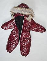 Детский зимний комбинезон для девочки от 0.5 до 2 лет, цельный, человечек, бордовый, фото 1