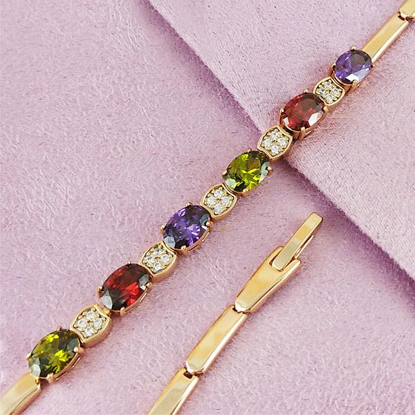 Браслет Xuping Jewelry 17,5/19 см Цветной медицинское золото позолота 18К А/В 4-0088