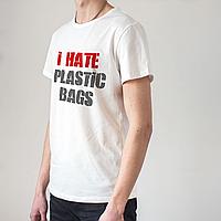 Мужская белая футболка I Hate plastic bags